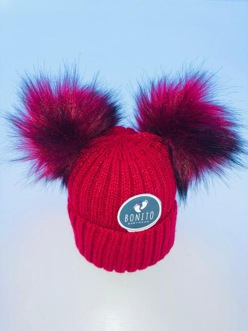2 Pom Pom hat red
