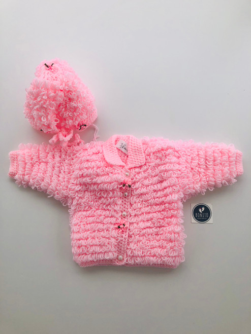 Loopy jacket &hat set pink