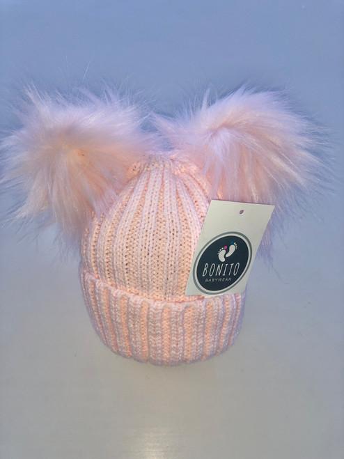 Two Pom Pom  hat pink