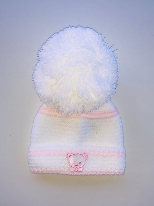 Small teddy hat white/pink