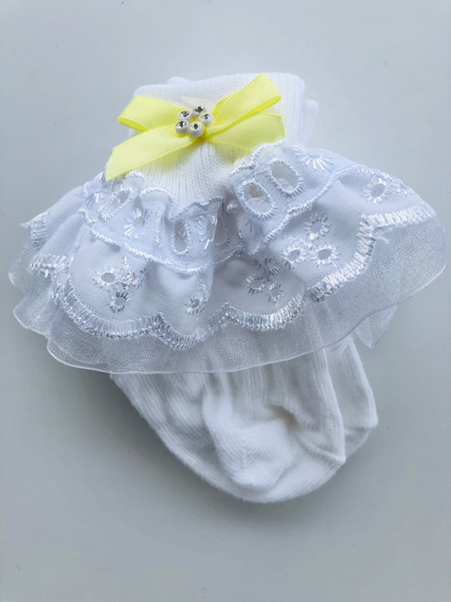 White/lemon frilly socks