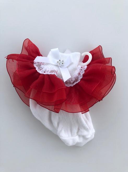 White /red frilly socks