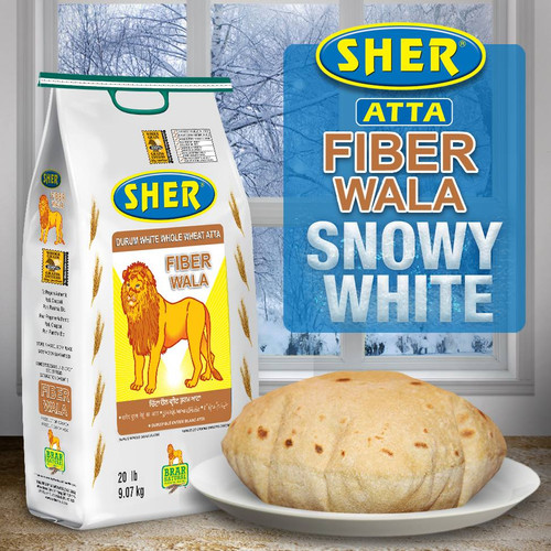 Sher Atta White Whole Wheat Atta (Fiber Wala) - 20LB
