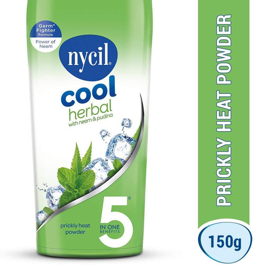 Nycil, Cool Herbal  Prickly Heat Powder with Neem & Pudina Cool Talc - 150gm