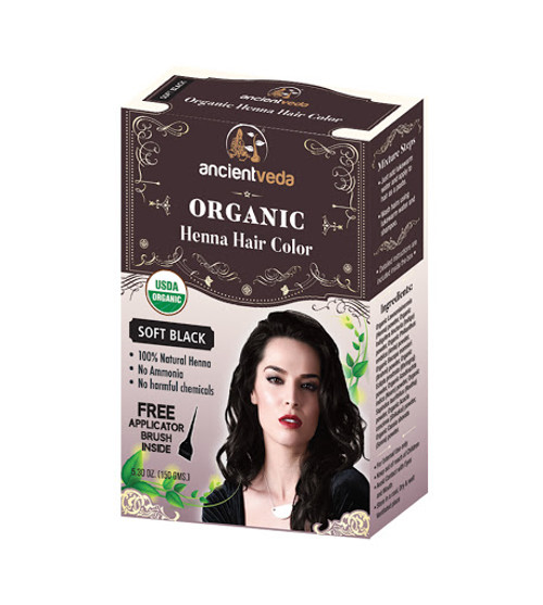 Ancient Veda, Organic Henna Hair Color - Soft Black - 150gm