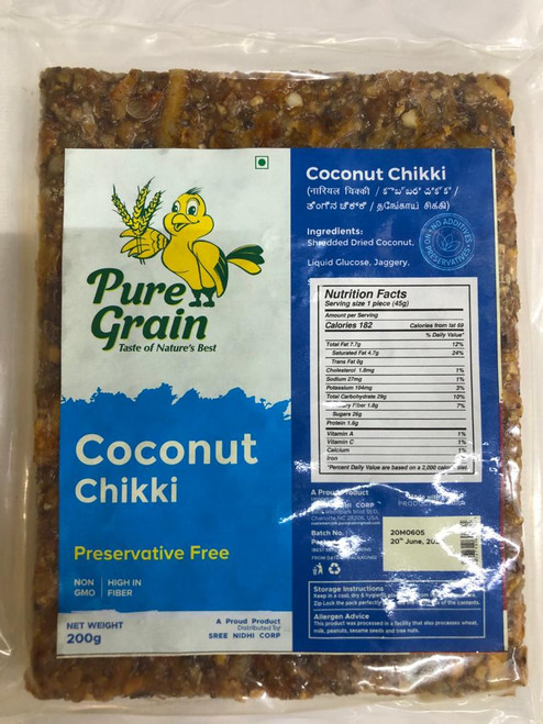 Pure Grain,  Coconut Chikki  - 200gm