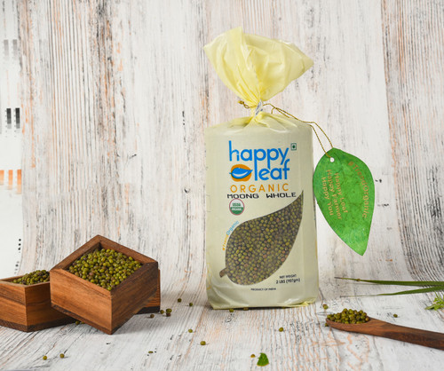 Happy Leaf,  Organic, Moong Whole - 3.5LB