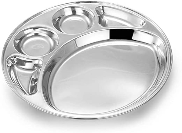 Stainless Steel Five Compartment Round Thali Plate  (Dolphin #2)