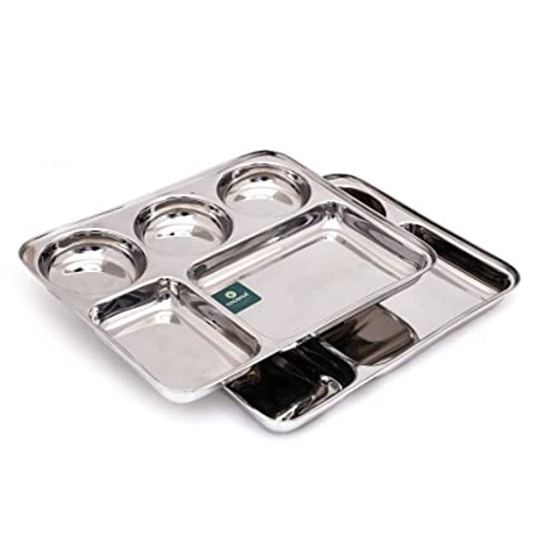 Stainless Steel Rectangle/Square Deep Dinner Plate(Heavy Guage) with 5 Sections  (Dolphin #1)