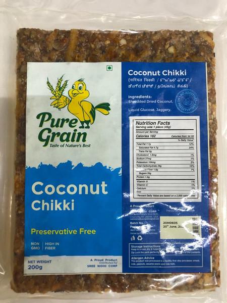 Pure Grain,  Coconut Chikki  - 200gm