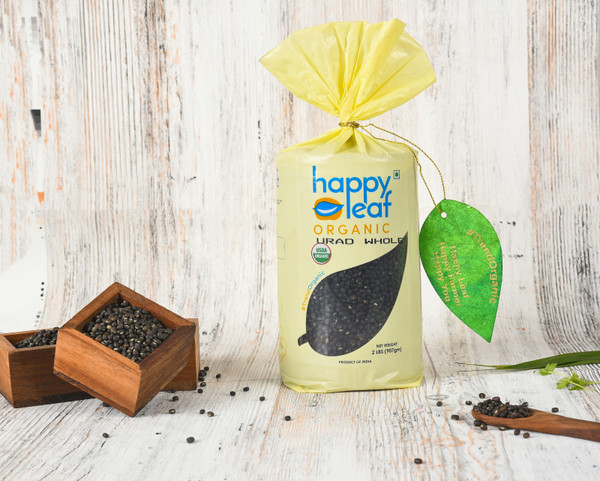 Happy Leaf,  Organic, Urad Whole Black  - 3.5LB
