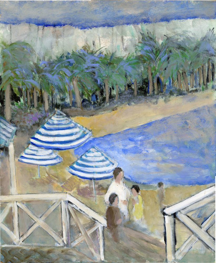 Beach Lagoon w/ Umbrellas and Palm Trees, oil on board by Pierre Vauthey (SOLD)