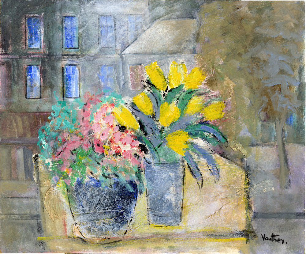 Still Life w/ Yellow Flowers, oil on board by Pierre Vauthey