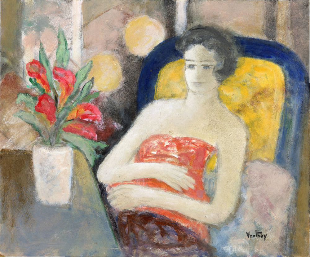 Woman Reclining, oil on board by Pierre Vauthey
