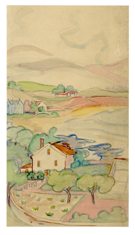 """""""Douce France"""", Watercolor on Paper Circa 1930 (2)"""