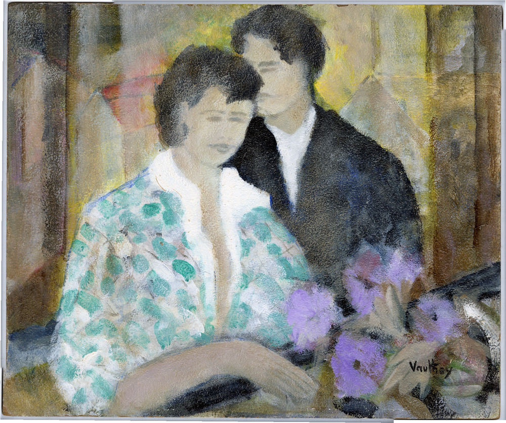"""""""The Young Couple"""", Original Oil Painting by Pierre Vauthey"""