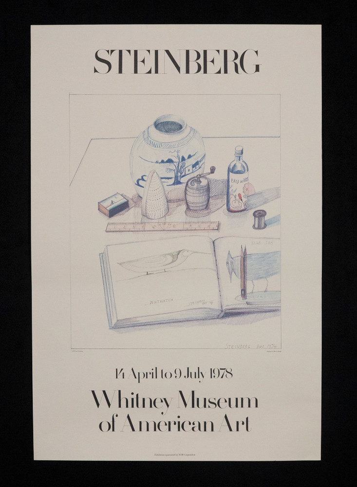 Saul Steinberg Exhibition Poster from the Whitney Museum Circa 1978