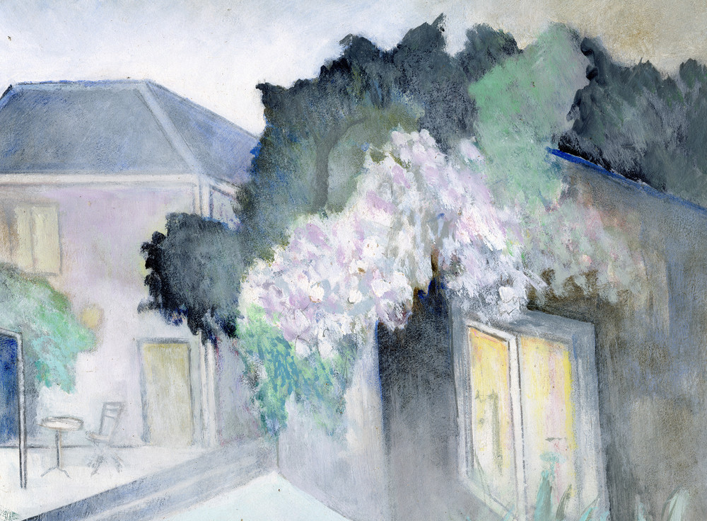 In the Courtyard,  oil on board by Pierre Vauthey