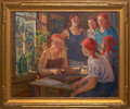 """""""At the Collective Farm Office"""", Original Oil Painting by Aleksandr Moravov Circa 1936"""