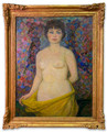 """""""Nude With Yellow Scarf"""" Original Oil Painting by Soviet Social Realism Artist Yuri L. Frolov"""