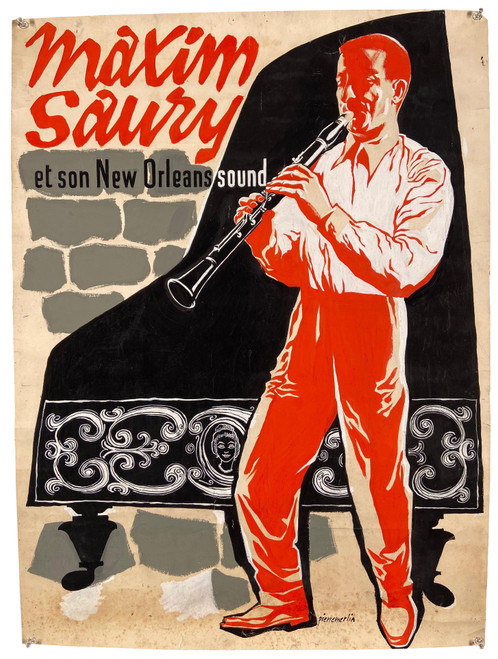 Hand Painted Vintage Poster of French Jazz Musician Maxim Saury by Pierre Merlin Circa 1950s