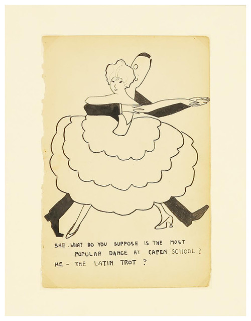 """""""The Latin Trot"""" Ink on Paper Drawing Circa 1920s (SOLD)"""