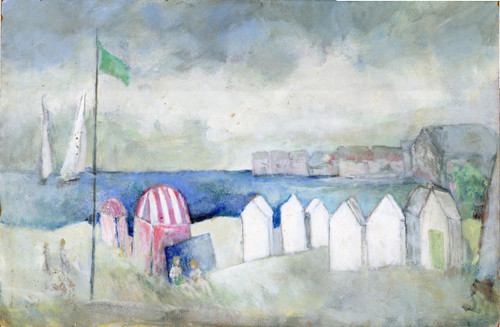 Beach Cabanas, oil on board by Pierre Vauthey