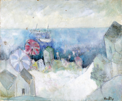 Beach Cabanas, Oil on Board by Pierre Vauthey (2)