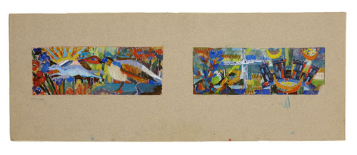 Whimsical Abstract Gouache Paintings on Vellum Circa 1960s