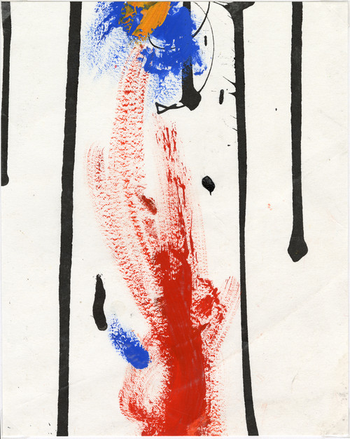 """""""Couleurs Primaires"""" Original Abstract Painting on Paper Circa 1997"""
