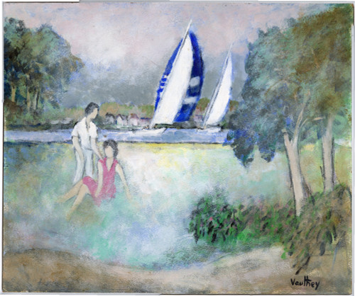 """Couple in the Park by the Lake"", Original Oil Painting by Pierre Vauthey"