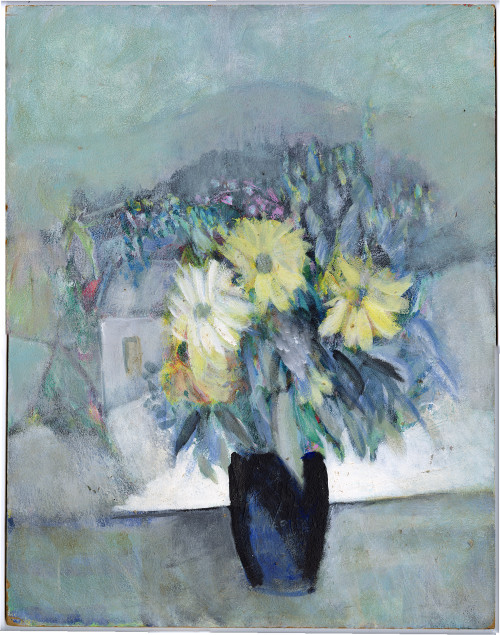 """""""Still Life with Yellow Flowers"""", Original Oil Painting by Pierre Vauthey"""