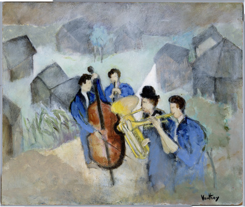 """The Jazz Quartet"", Original Oil Painting by Pierre Vauthey"
