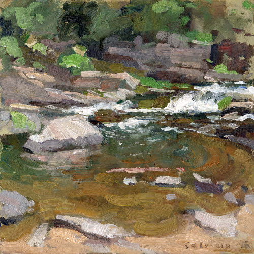 """Waterfall Stream"", Original Oil Painting by Matteo Caloiaro"