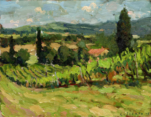 """Vineyard in Torri"", Original Oil Painting by Matteo Caloiaro"