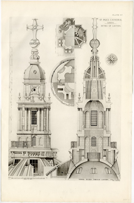 """St. Paul's Cathedral, Details of Lantern"", Original Lithograph (1925)"
