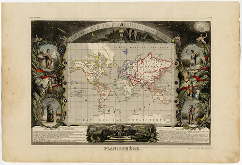 """Planisphere"", Atlas National Illustre Circa 1850"