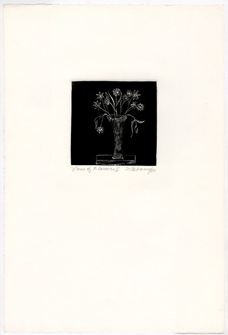 """Vase of Flowers II"", Original Etching by Anita Klebanoff"