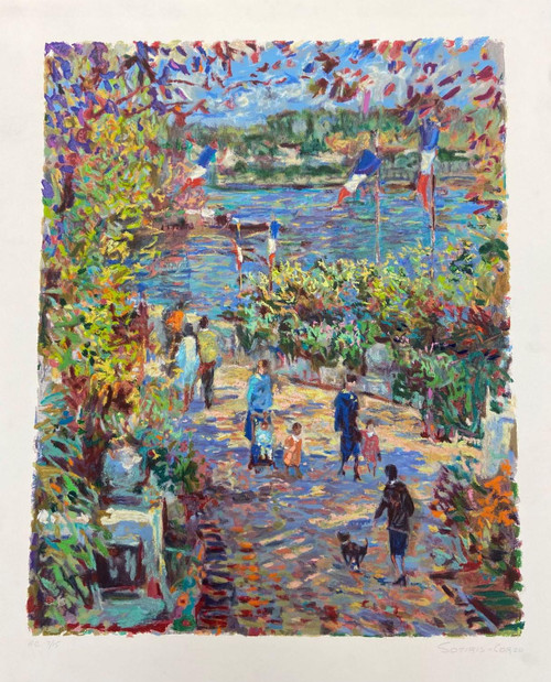"""Along the Seine"" Original Hand-Numbered Serigraph by Sotiris-Corzo"