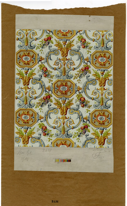 Hand Painted French Wall Paper Sample, Late 19th Century