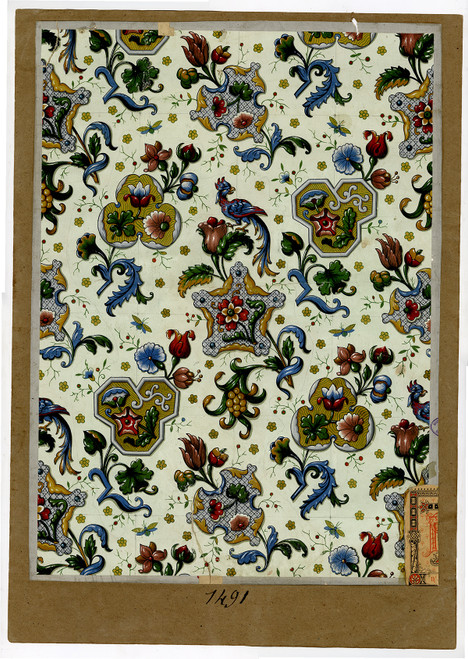 Hand Painted French Wall Paper Sample, Late 19th Century (2)