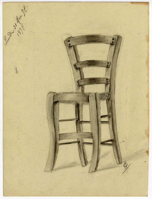 """French Chair"" - Original Sketch Drawing, Circa 1897"