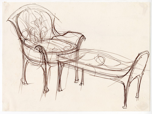 """""""French Furniture"""" Pen and Ink on Paper, Circa 1970"""