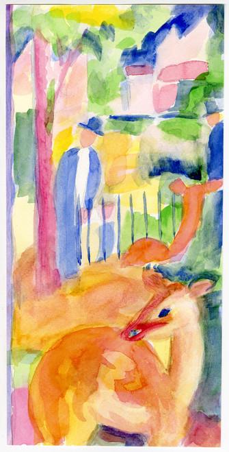 """Zoo"" - French Watercolor Circa 1995"