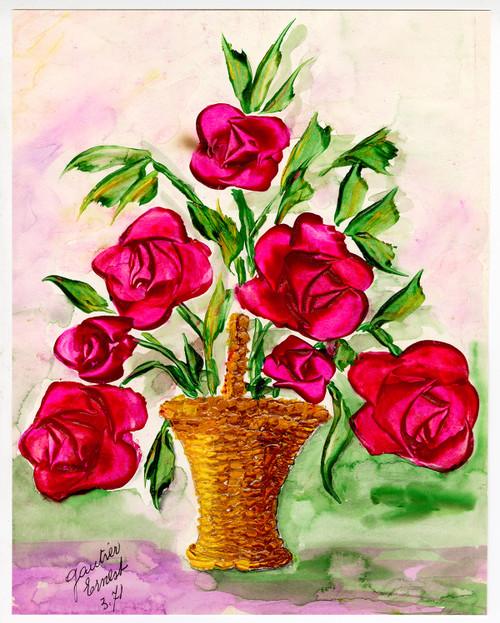"""Red Roses in a Wicker Basket"" - Original Painting Circa 1971"