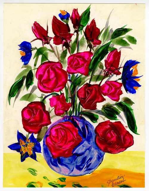 """Pink Roses in Blue Vessel"" - Original Painting Circa 1970"