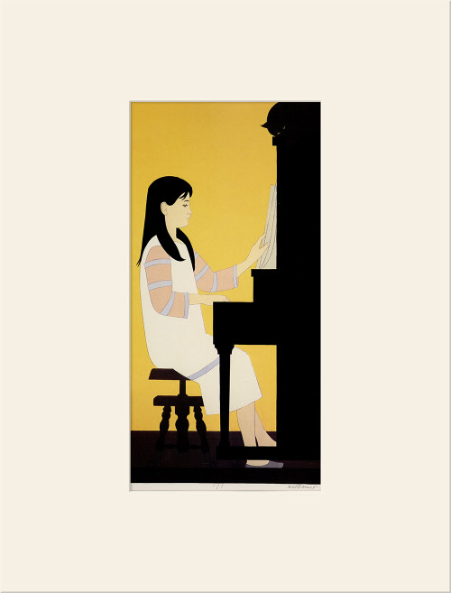 """Girl at the Piano (1973)"", Vintage Offset Lithograph After Will Barnet"