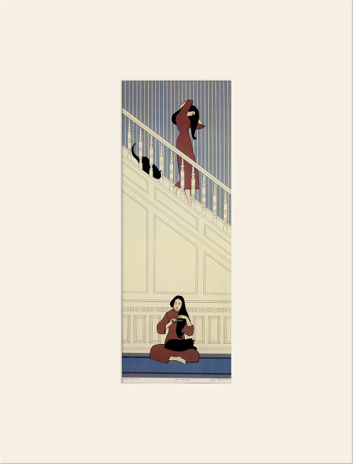 """White Stairway (1974)"", Vintage Offset Lithograph After Will Barnet"