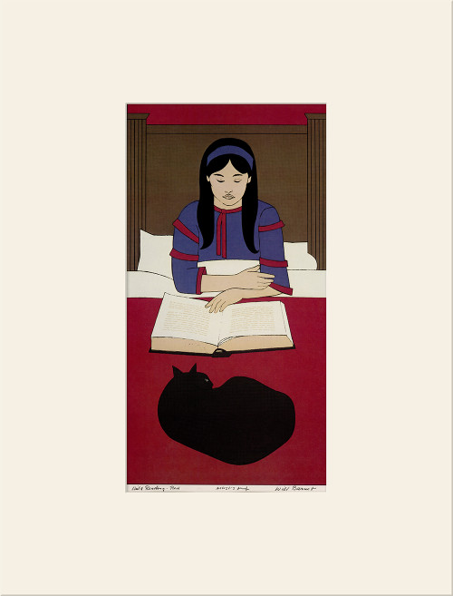 """Child Reading - Red (1970)"", Vintage Offset Lithograph After Will Barnet"