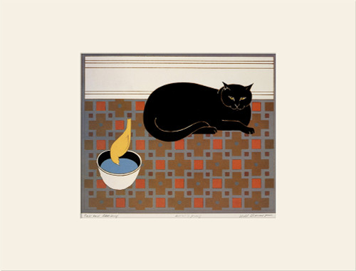 """Cat and Canary (1971)"", Vintage Offset Lithograph After Will Barnet"